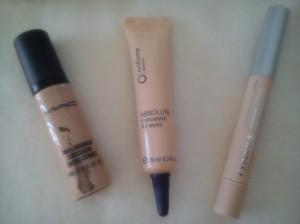 MAC ProLongWear, Oriflame absolute concealer for eyes, Clinique Airbrush concealer.