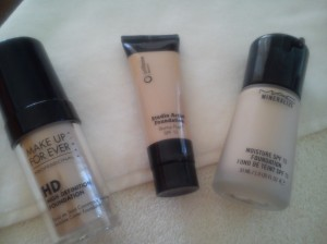 MakeUp Forever HD foundation, Oriflame Studio Artist, MAC Mineralize foundation.